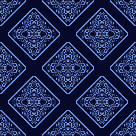 luxurious seamless wallpaper: Blue geometric seamless Wallpaper with floral Ornament. Illustration