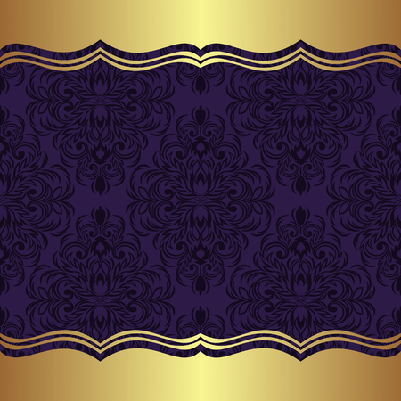 Elegant damask Background with golden Borders