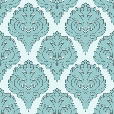 Seamless damask Wallpaper with blue Ornament. Illustration