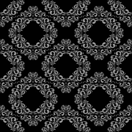 Seamless damask floral Wallpaper - grey on black