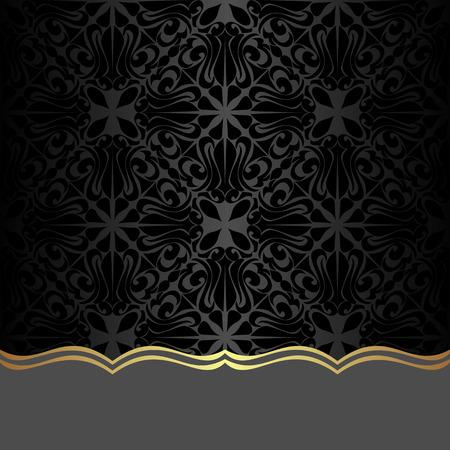 royal background: Black ornamental Background with Border for Design Illustration