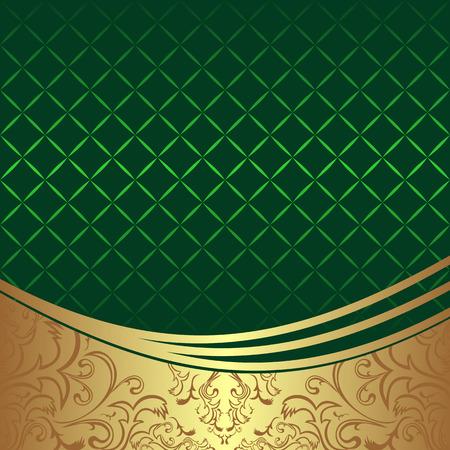 Elegant geometric green Background with golden ornamental Border