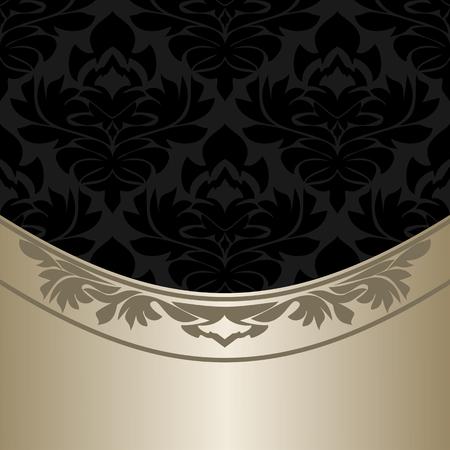 Luxury ornate black Background with elegant silver Border