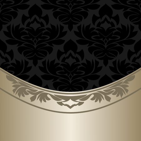royal background: Luxury ornate black Background with elegant silver Border