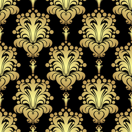 scroll design: Golden floral seamless Pattern on black
