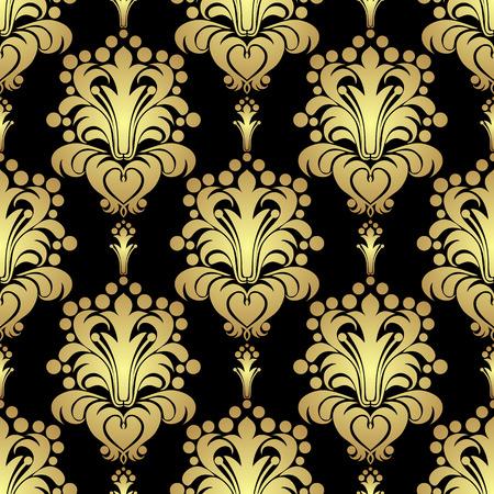 Golden floral seamless Pattern on black