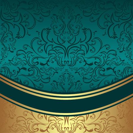Luxury ornamental Background with golden Border - invite design