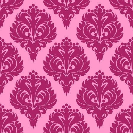 Seamless damask pink floral Pattern Illustration