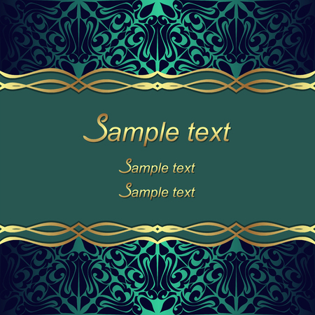 Elegant ornate Background with golden Borders and Place for Text - invitation design.