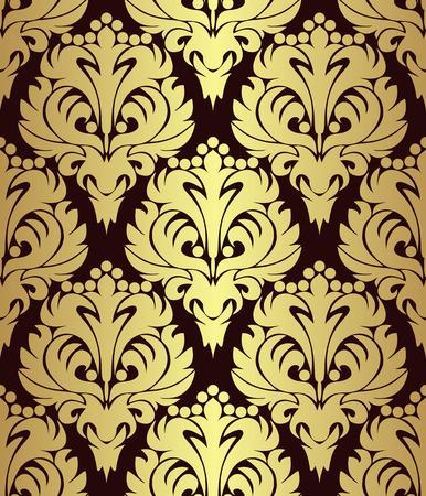 Golden floral Pattern on brown.