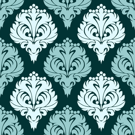 Damask seamless Wallpaper in shades of blue Illustration