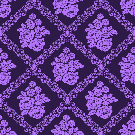 Seamless damask Wallpaper with bouquet of Flowers for design