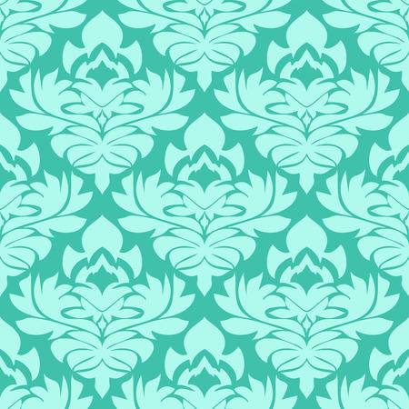 Seamless retro damask Wallpaper in blue Colors Illustration
