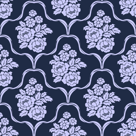 Elegant seamless retro Wallpaper - Ornament with bouquet of Flowers Illustration