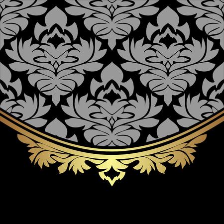 Luxuri damask Background decorated the golden ornate Border
