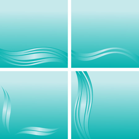 Blue abstract Background with waves Borders with place for your Information - set