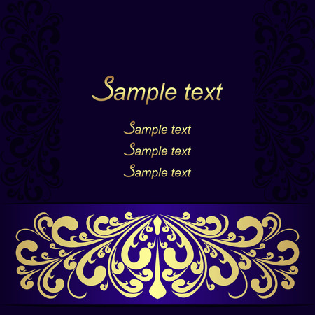 Elegant dark blue Background with ornate Ribbon Illustration