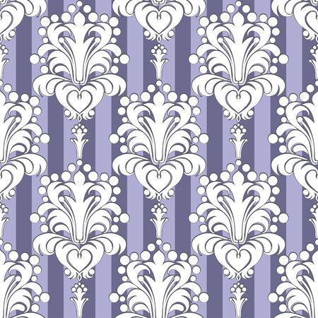 Seamless Wallpaper with floral Ornament on striped Background