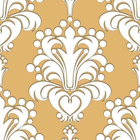 Seamless damask Pattern with volumetric Ornament