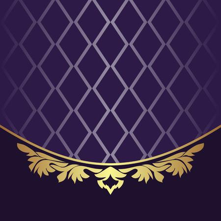 violet background: Elegant Backgound decorated the golden floral Border