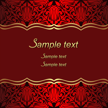 Luxury red Background with ornate Borders for invite Design. Illustration