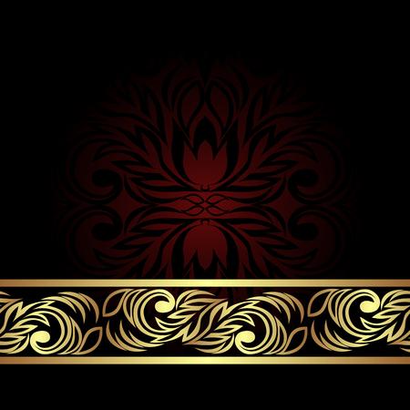 Elegant ornamental Backgound decorated the golden floral Border