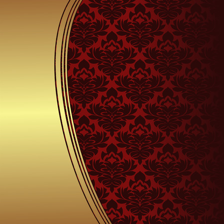 Luxury red ornamental Background with golden Border