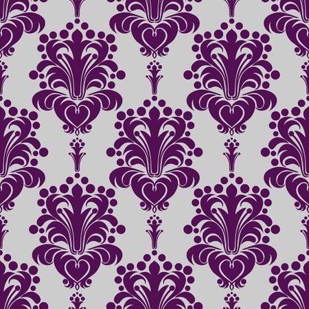 Seamless damask Wallpaper - violet Ornament on grey Illustration