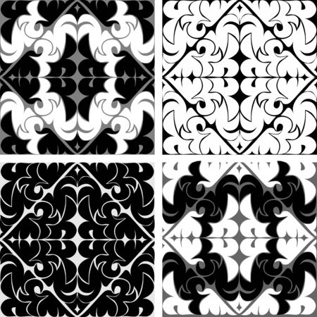 Seamless ornamental Tiles in black and white colors