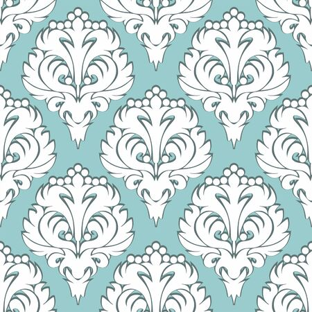 Seamless damask volumetric Wallpaper- white on blue