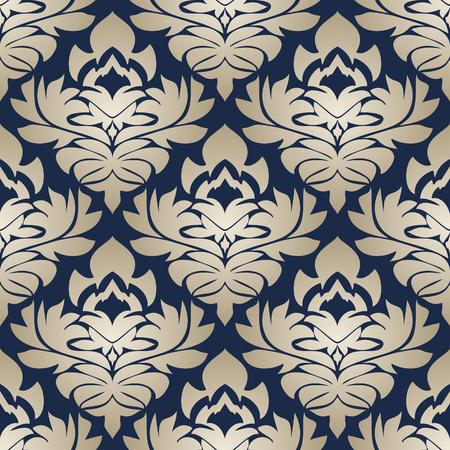 Seamless silver ornamental Pattern on dark blue Background