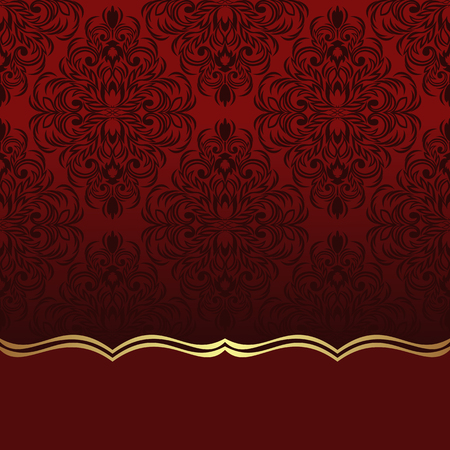 red gold: Luxury red ornamental Background with  Border for your Information