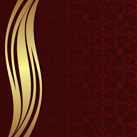 ribbon background: Luxury red ornamental Background with golden wave Border