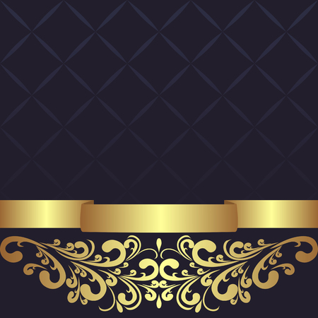 royal background: Dark blue geometric Background decorated the golden floral Border.