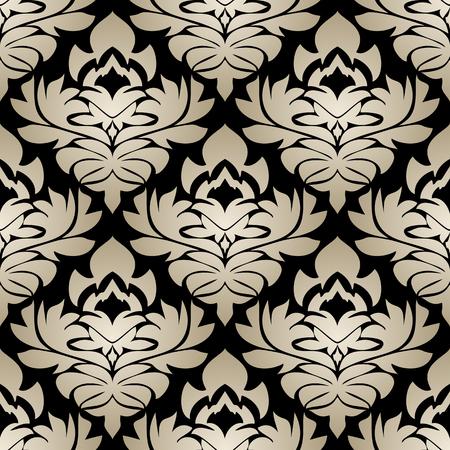 Seamless silver damask Pattern on the black Background Illustration