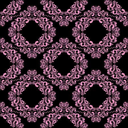 Seamless floral ornamental  pink Pattern on black