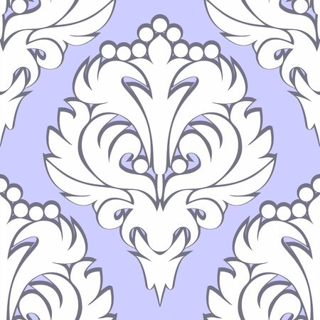 regency: Seamless retro floral Pattern - white on blue