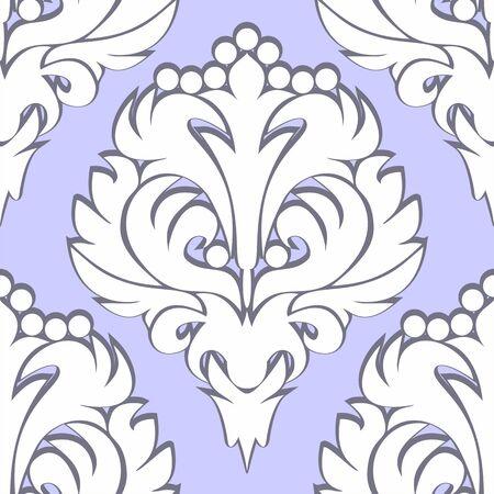 Seamless retro floral Pattern - white on blue