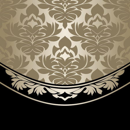 Luxury damask Background decorated the ornate Border - silver and black Illustration