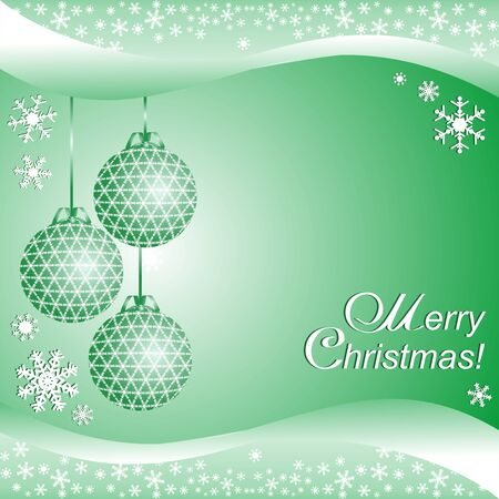 Green xmas Background with Balls with Place for your Information Illustration