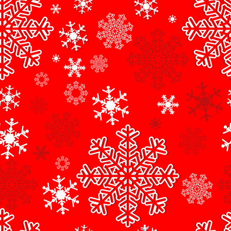Winter seamless  Pattern with Snowflakes on red Illustration