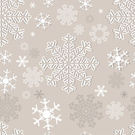 Winter seamless  Pattern with Snowflakes on grey