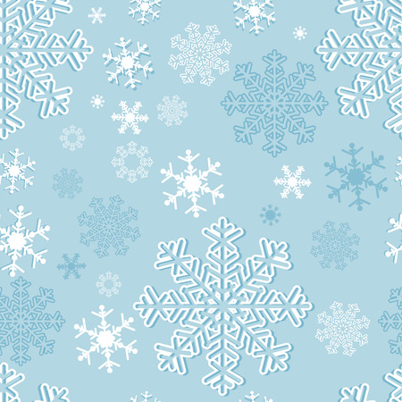 Winter seamless  Pattern with Snowflakes on blue