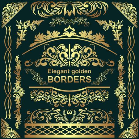 Golden elegant Borders, design Elements - big Set for your Design. Illustration