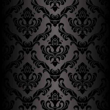 Seamless damask black Wallpaper in retro Style