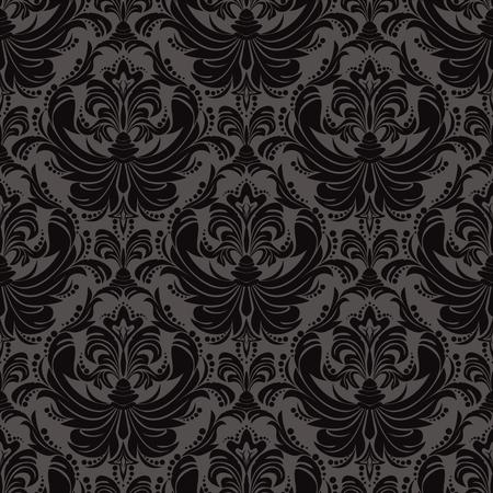 Seamless floral damask black ornamental Wallpaper for design