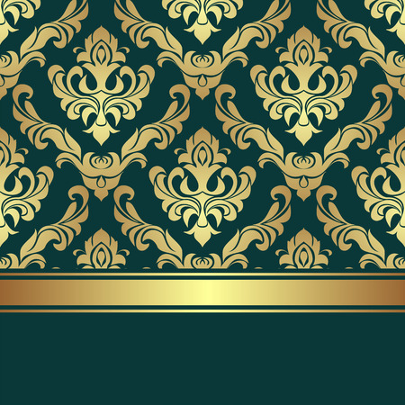 Luxury golden damask Pattern decorated the Border with golden Ribbon.