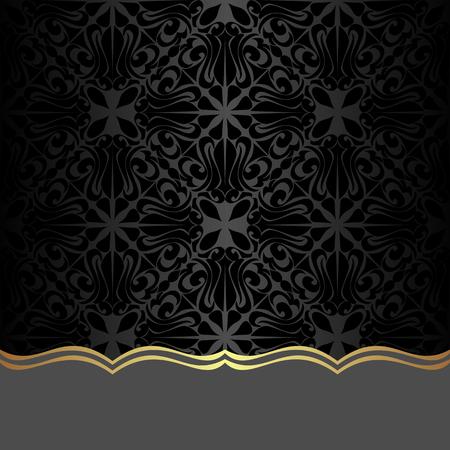 Black ornamental Background with Border for Design Illustration