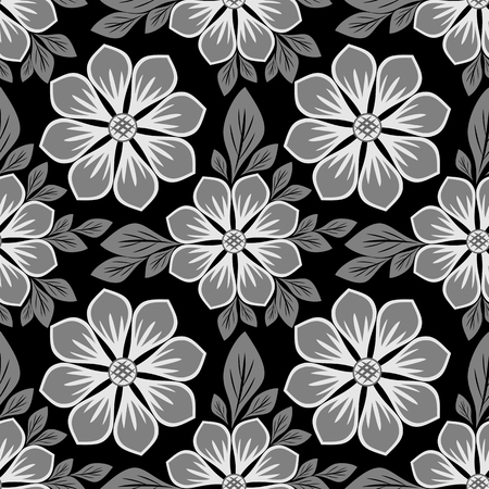 Seamless floral Pattern with beautiful Flowers - black and white Design Illustration