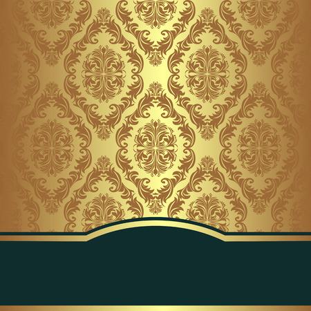 Golden damask Background with elegant Border